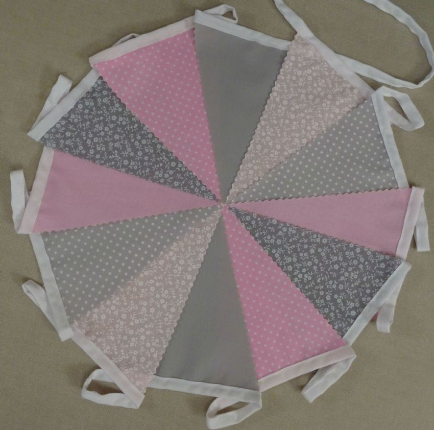 BUNTING Light Grey & Pink in Plain, Floral & Spot - 3m, 5m or 10m